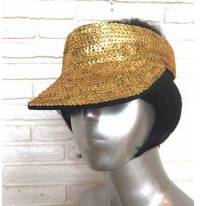 Gold Sequins Beaded Visor Hat 1980's Festival Cap